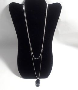Silver Layer Necklace with Black Pendant
